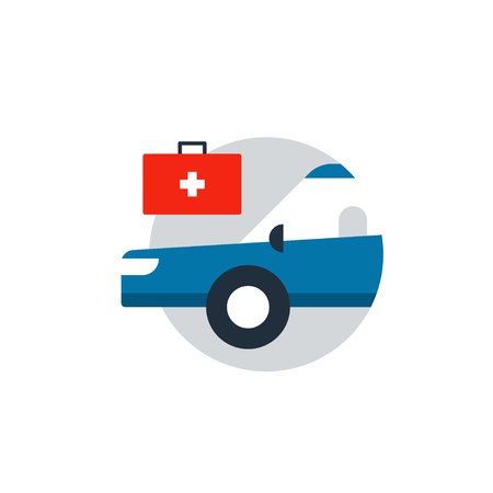 Blue car in a circle with medical help box.  Emerency car, safety medical box, first-aid concept. Flat design vector illustration Illustration