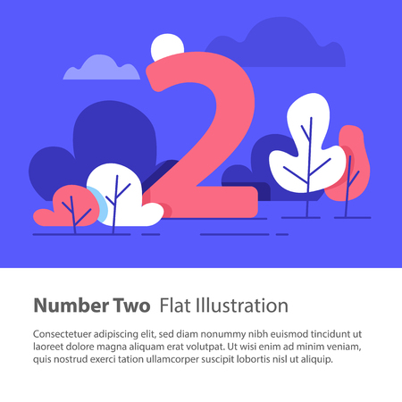 Number two, top chart concept, sequential number, night sky, park trees, vector flat design, minimalist illustration