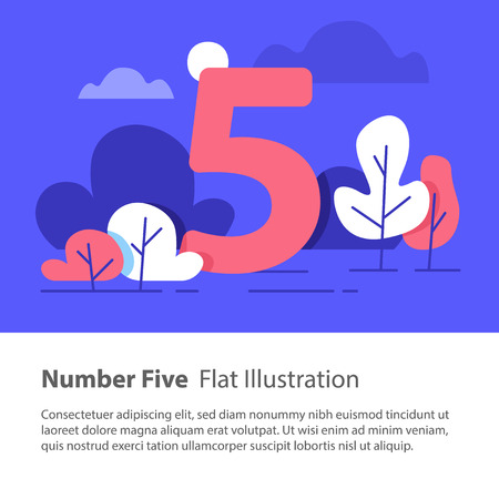 Number five, top chart concept, sequential number, night sky, park trees, vector flat design, minimalist illustration Illustration