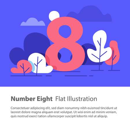 Number eight, top chart concept, sequential number, night sky, park trees, vector flat design, minimalist illustration Illustration