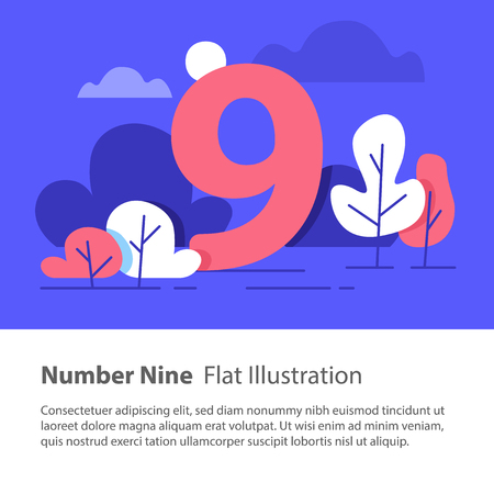 Number nine, top chart concept, sequential number, night sky, park trees, vector flat design, minimalist illustration