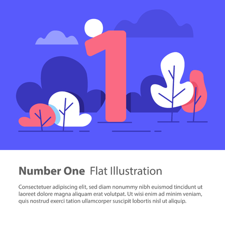 Number one, top chart concept, sequential number, night sky, park trees, vector flat design, minimalist illustration