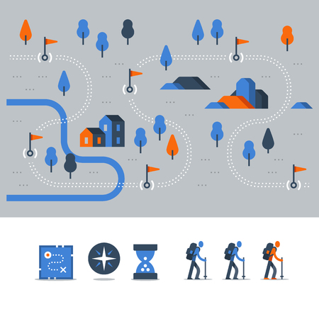 Hiking map, outdoor trail, countryside landscape, Nordic walking, orienteering concept, trail path with flags, nature park, vector icons, flat illustration Vectores