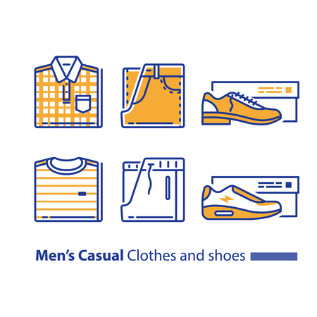 Men's casual and sports clothing and shoes, folded checked shirt and jeans, striped t-shirt and track bottoms, low shoe with heel and sneakers. New collection, vector line icon set, linear design.