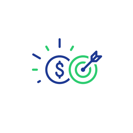 Financial target, credit score, funding concept, payment installment, vector line icon