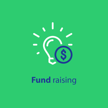 Donation and crowdfunding concept, fund raising, sponsor, idea light bulb. Start up business, vector line icon. Çizim