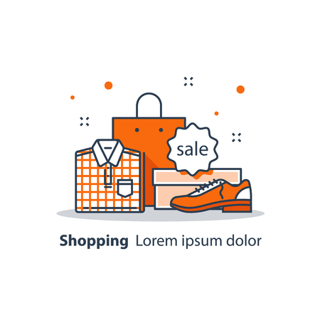 Shop sale announcement, discount store, special offer, advertising and promotion, clothes and shoes. Vector line icon, flat design illustration.