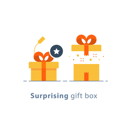 Surprising gift, prize give away, creative present, fun experience, unusual gift idea concept, opened yellow box with red ribbon, flat design icon, vector illustration