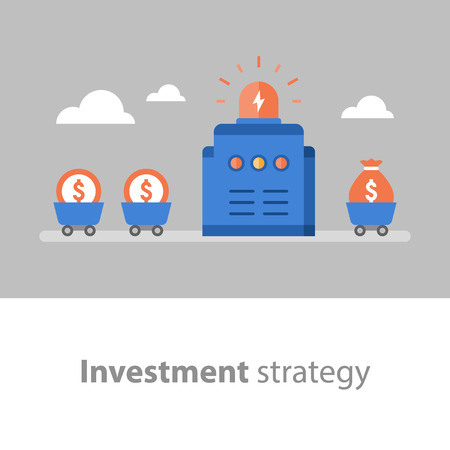 Long term investment, fund management, fund raising, income increase, start up concept, interest rate, mutual fund, pension savings, vector flat illustration