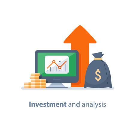 Investeringsstrategie, financiële analyse, hedgefonds, durfkapitaal, beleggingsfonds, trustbeheer, rentetarief, kapitaalgroei, gegevensbeoordeling op desktop, aandelenmarkt en beurs, boekhoudpictogram Vector Illustratie