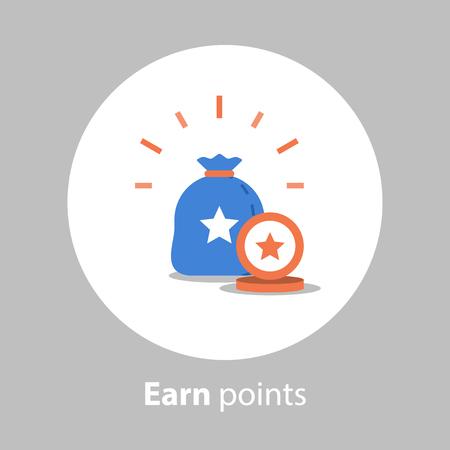 Programa de fidelización, ganar puntos, concepto de recompensa, acumular puntos, icono de vector, ilustración plana