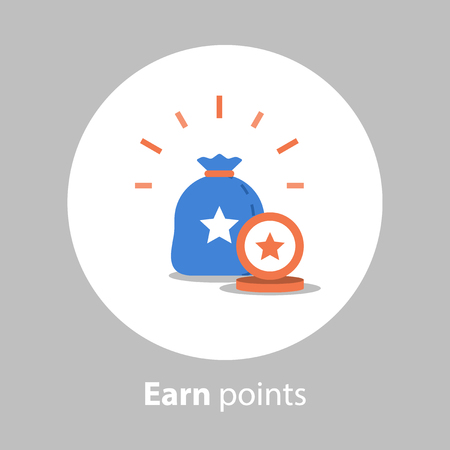Loyalty program, earn points, reward concept, collect points, vector icon, flat illustration
