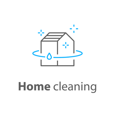 House cleaning services, plumbing repair logo, home hygiene, vector thin line icon Ilustração
