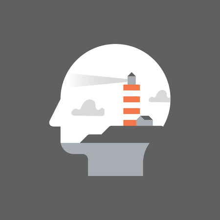 Potential development, mentorship concept, self awareness and mindfulness, lifelong learning, life meaning search, vector flat illustration