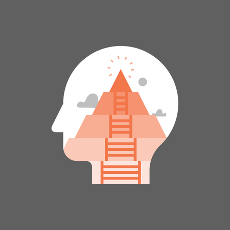 Pyramid hierarchy of human needs, psychoanalysis concept, mental development stage, self actualization, personal growth and fulfillment, self awareness and mindfulness, life meaning, vector icon Фото со стока - 105675107