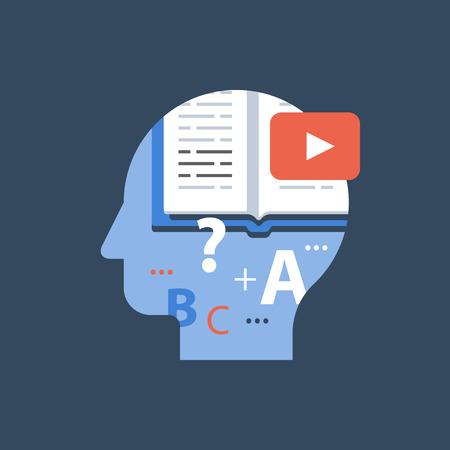 Online university class, video tutorial, exam preparation, tutor, distant education, study subject, vector icon, flat illustration Illustration
