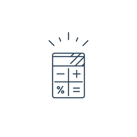 Calculator mono line vector icon, calculation services, finance estimation  concept