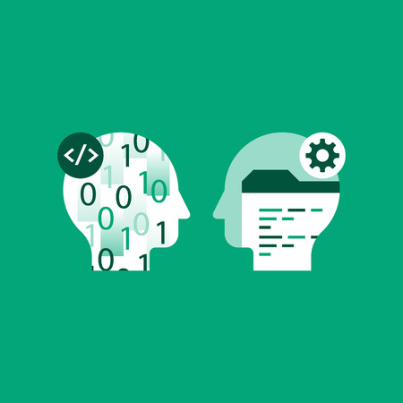 Learn coding, programming language, technology and innovation, falling numbers, software development, vector icon, flat illustration Vektorové ilustrace