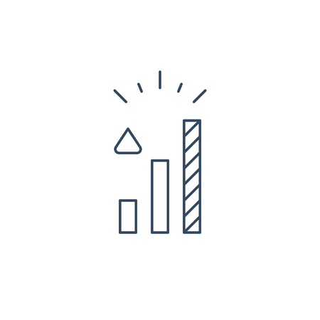 Growth concept, higher level, upgrade plan, financial increase, mono line vector icon Illustration