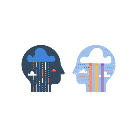 Positive and negative thinking, happy and unhappy feelings, bipolar disorder, stress trigger, psychotherapy concept, self motivation, bias and communication, mental health, vector icon Illustration