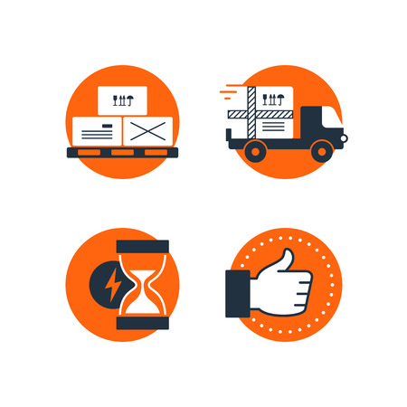 Delivery truck icon, boxes on pallet symbol, sand glass fast time sign, like and satisfaction thumb up hand, logistics concept. Flat design vector illustration Vektorové ilustrace