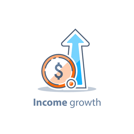 Long term investing strategy, income growth, boost business revenue, investment return, fund raising, pension savings account, financial improvement report, more money, high interest rate, vector icon Vector Illustration