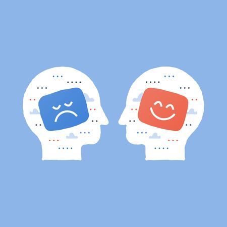 Positives Denken, negative Emotionen, schlechte Erfahrungen, gutes Feedback, zufriedener Kunde, unglücklicher Kunde, schlechte Servicequalität, optimistische Einstellung, Pessimismus-Konzept, Meinungsumfrage-Soziologie, Empathie-Symbol