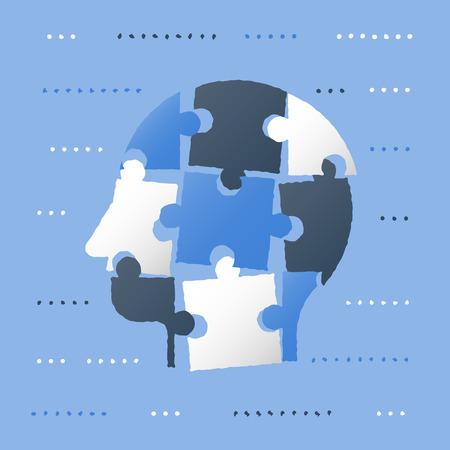 Testa di puzzle, concetto di neurologia, sviluppo della personalità, miglioramento personale, pregiudizi e processo decisionale, strategia educativa, risorse umane e reclutamento, soluzioni intelligenti e semplici, pensiero critico Vettoriali