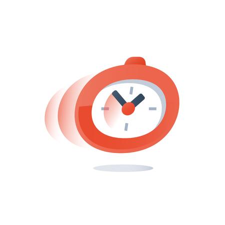 Tempo che scorre, cronometro in movimento, conto alla rovescia della scadenza, periodo di consegna urgente, servizio veloce, sondaggio rapido, limite di tempo per l'iscrizione, icona vettoriale, illustrazione design piatto