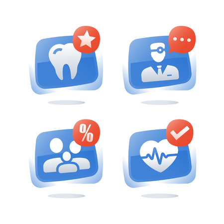 Family doctor medical service, health care, cardiovascular check up, dentist teeth exam, heart stroke prevention, clinic treatment, support and consulting, vector icon set, flat button
