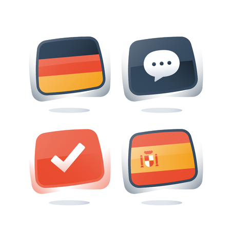 German and Spanish language, flags icons, linguistic learning, online course, enroll button, chat speech bubble, exam and test preparation program, vocabulary improvement, check mark, vector icon set Illustration