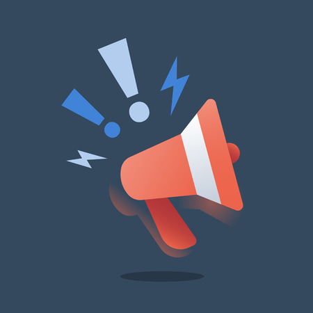 Outbound marketing, smm strategy, promotion campaign, advertising concept, public relations, red megaphone, advance information, organize event, fake news, announcement message, voice amplifier icon