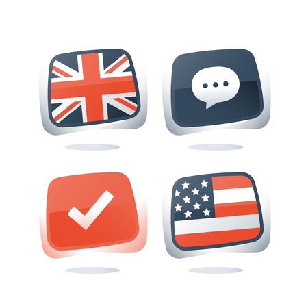 English and American language, British and USA flags, linguistic learning, online course, enroll button, chat speech bubble, exam and test preparation program, vocabulary improvement, check mark icon