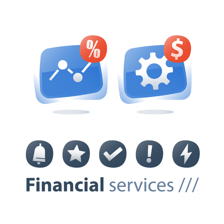 Financial performance report, money work, investment strategy, revenue increase, finance technology, accountancy and budgeting, fund growth, business solutions, stock market concept flat icons set Иллюстрация