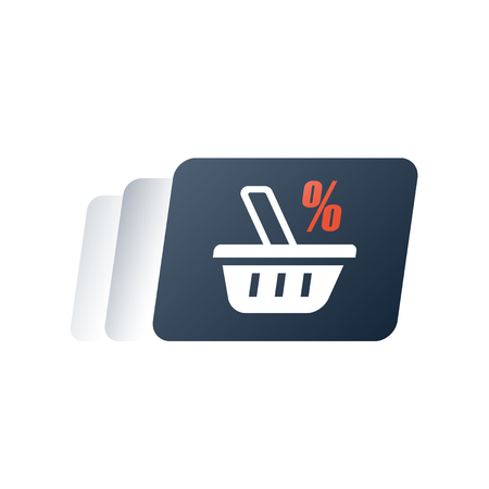 Loyalty card, reward program, earn points for purchase, discount coupon, grocery basket, premium service, fast order delivery, gift card, promo code, vector flat icon