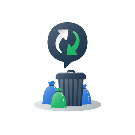 Group of garbage bags around can,  litter collection, pile of rubbish and container, recycle program arrows, utilization concept, gathered in green and black sacks, vector flat icon