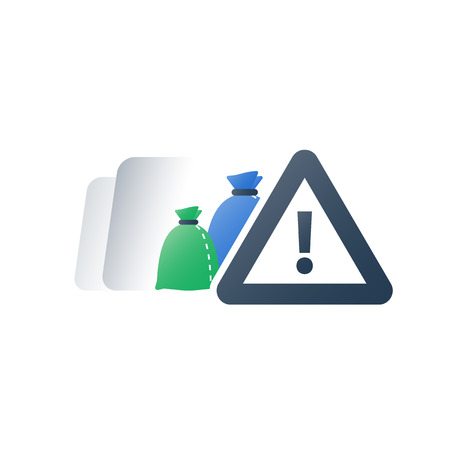 Hazardous waste products, garbage bags, dangerous rubbish warning sign, recycle program, utilization concept, vector flat icon