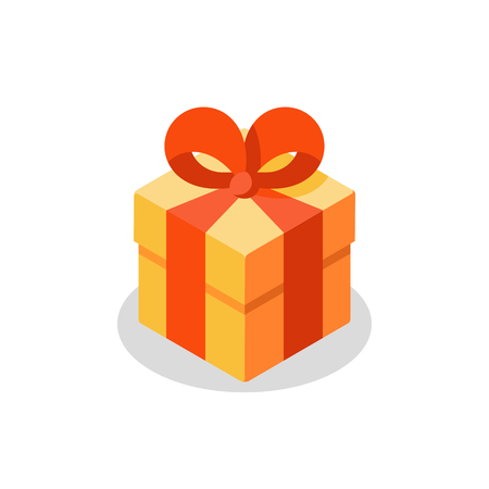 Surprising gift, yellow box, red ribbon, present giveaway, special prize, happy birthday congratulation concept, three gift boxes, small medium and big, vector icon, flat illustration