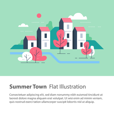 Cozy town, row of houses by the river with trees, residential building, river side settlement, green neighborhood, real estate development, flat design vector illustration