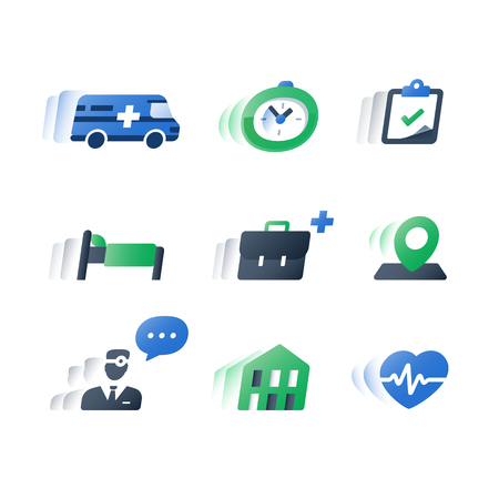 Health care services, medical procedure, professional doctor help, stationary treatment, patient attendance, time period hospitalization, fast recovery, annual heart checkup cardiogram, flat icons set