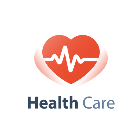 Health check up, heart pulse trace, medical service, cardiovascular disease diagnosis, stroke prevention, hypertension treatment, life insurance, vector icon Illustration