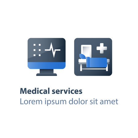 Hospital bed, medical attendance, hospitalization and treatment, stationary therapy, cot in ward, surgery room, vector flat icon Stok Fotoğraf - 105665196
