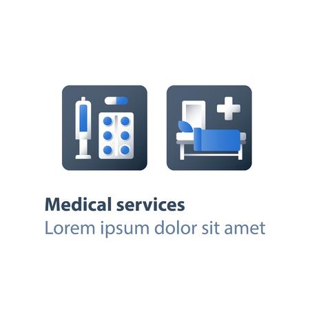 Pharmacie et médecine, médicaments, capsule d'antibiotiques, pilules analgésiques, seringue et tablette, vaccination préventive, thérapie médicamenteuse, services de soins de santé, jeu d'icônes vectorielles plat
