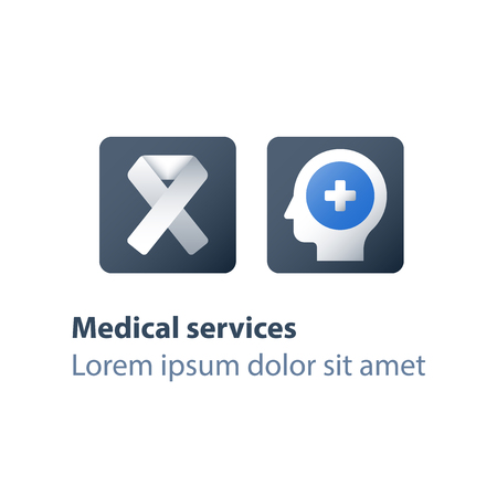 HIV test positive concept, human immunodeficiency virus, AIDS help and support, medical exam, ribbon symbol, diagnosis and therapy, health care, treatment program, vector flat icons