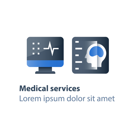 Procedimiento de resonancia magnética, servicios médicos, chequeo de atención médica, diagnóstico y análisis de la cabeza, examen cerebral, búsqueda de tumor, pantalla de escritorio, icono plano vectorial Ilustración de vector