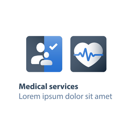 Mother and child health check up, medical examination, cardiovascular test and diagnostic, development program, health care concept, family planning, vector flat icon