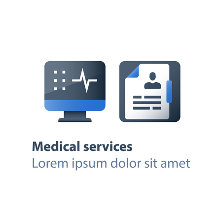 Medical exam, health check up, test result, hospital services, sick leave certificate, patient card, personalized treatment, vector flat icon