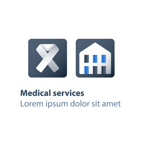 Human immunodeficiency virus treatment program, stationary therapy, disease diagnosis, health check up, vector flat icon
