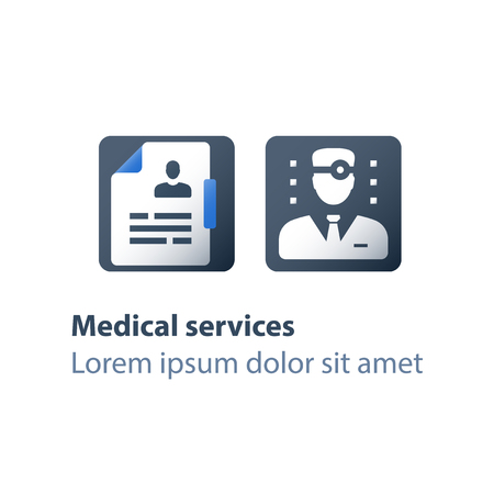 Doctor and clipboard, medical consulting, personalized approach, support and guidance, healthcare services, physician or general practitioner assistance, sick leave certificate, vector flat icon
