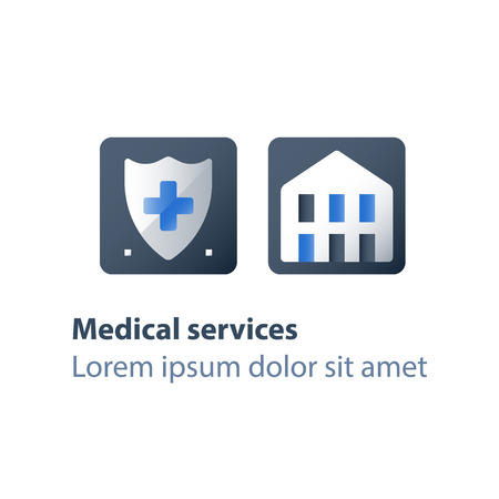 Medical insurance, health care, shield and cross, hospital services, hospice concept, charity fund, preventive check up, vector flat icon Çizim